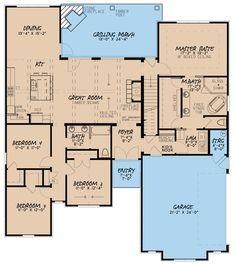 European House Plan with Bonus Room - European Plan, European Style Homes, European House Plans, French Style Homes, European Home Decor, New House Plans, House Floor Plans, Entryway Flooring, 4 Bedroom House Plans