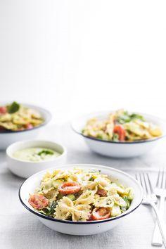 pasta salad with yogurt cilantro avocado dressing   Eat Good 4 Life