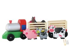 WOODEN FARM TRAIN WITH ANIMALS Farm With Animals, Wooden Animals, Wooden Train, Imaginative Play, Free Range, Toys, Cute, Packaging, Activity Toys