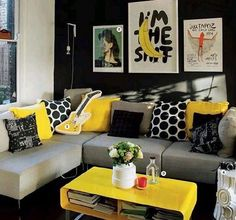30 Modern Summer Living Room Designs For 2018 Grey And Yellow Living Room, Colourful Living Room, Living Room Decor Cozy, New Living Room, Interior Design Living Room, Living Room Furniture, Living Room Designs, Home Furniture, Grey Yellow