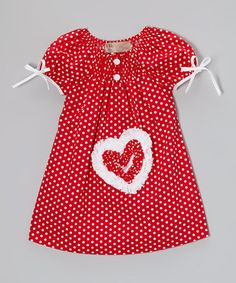 This Red & White Polka Dot Heart Dress - Toddler & Girls is perfect! #zulilyfinds