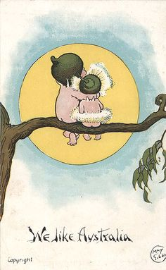 Australian writer May Gibbs and her postcard illustration of gumnut babies found in her Snugglepot and Cuddlepie books. Australian Vintage, Australian Bush, Australian Authors, Australian Artists, Bebe Nature, Baby Tattoos, Tatoos, Australia Day, Children's Book Illustration