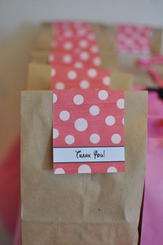 Simple party favor bags with thank you tags