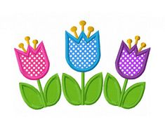 Tulip Flowers Applique Machine Embroidery by LovelyStitchesDesign