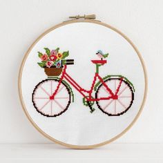 Spring Bicycle Cross Stitch Pattern for the home Modern Cross Stitch Kits + Patterns Hand Embroidery Stitches, Cross Stitch Embroidery, Embroidery Patterns, Cross Stitch Kits, Cross Stitch Designs, Cross Stitch For Kids, Bike Drawing, Design Poster, Cross Patterns