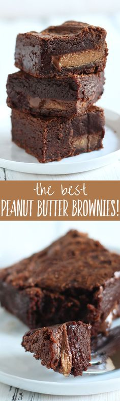 The Best Peanut Butter Brownies - These are the BEST peanut butter brownies ever! They have peanut butter throughout AND are stuffed with peanut butter cups! Thick, fudgy, chewy, and slightly gooey.