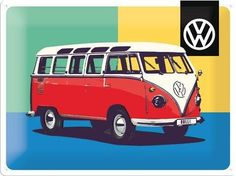 Vw Bus, Volkswagen, Pop Art, Andy Warhol, Rockabilly, Nostalgic Art, Magnetic Chalkboard, Metal Plaque, Palette Knife Painting