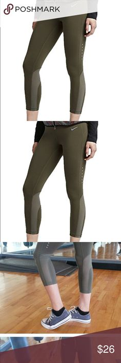 Nike Epic Run Lux Cropped Leggings w/ Mesh I had sold these before. But didn't realize its have a tiny whole shown in the pics. Other than that they're in great conditions. Willing to trade for other pair of leggings or sell on 〽️ercari. Nike Pants Leggings