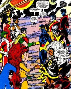 1982  Unión entre dos clásicos de Marvel Comics y DC Comics como son los X-Men (la Patrulla X) y los Nuevos Titanes, y encima en sus concepciones más clásicas (el cómic es de 1982, una de las mejores épocas para los comics de ambos grupos superheroicos). Cíclope, Lobezno, Tormenta, Kid Flash, Raven, Robin, Starfire, etc