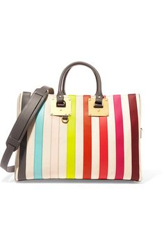 Sophie Hulme's Resort '17 collection is inspired by American artist Sol LeWitt. This 'Cromwell' bag is made from ecru canvas and strips of rainbow-bright leather. It's roomy enough to use for overnight stays or storing your gym kit and has two carrying options - top handles or a detachable shoulder strap.
