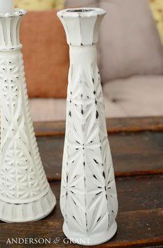 creating distressed candlesticks from glass bud vases, crafts crafts to make and sell thrift stores Creating Distressed Candlesticks From Glass Bud Vases Painted Candlesticks, Painted Vases, Old Baskets, Vase Design, Thrift Store Crafts, Wooden Vase, Wooden Bowls, Hacks, Boho Diy