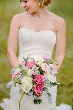 Pink peonies, white hydrangea, dusty miller leaves
