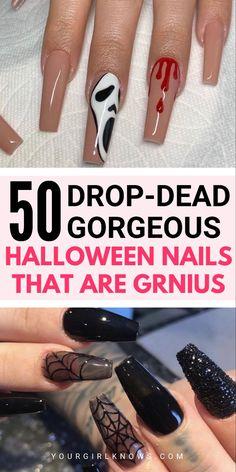 Spooky Halloween, Halloween Toe Nails, Halloween Nail Designs, Halloween Costumes, Halloween Makeup, Halloween Decorations, Nail Designs For Fall, Cute Simple Nail Designs, Beginner Nail Designs