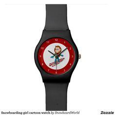 Snowboarding girl cartoon watch