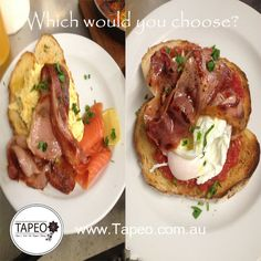 Which would you choose for #breakfast? Does #bacon taste better with #scrambledeggs & #salmon or with #poachedeggs & crushed #tomatoes? Let us know below.  From the team at Tapeo: 82 Redfern St, Redfern NSW. Check us out at http://www.Tapeo.com.au & follow us on FB http://FB.com.tapeo.au #tapeo #tapeocafe #tapeoredfern #redfern #sydneycafe #sydney #cafe #restaurant