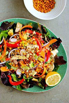 cauliflower couscous salad with turmeric roasted chickpeas // food to glow #salads #turmeric