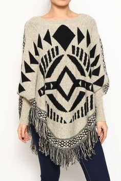 Clothing - Top - Tribal Pattern Poncho - Khaki   Ruth & Ruth