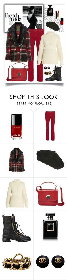 """Old School Plaid Blazer Look"" by romaboots-1 ❤ liked on Polyvore featuring Chanel, Current/Elliott, Sportmax, Marni and Giuseppe Zanotti"
