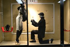The Wedding Proposal Window Display done by visual merchandising students at Mohawk College. If you want mannequins like this click on the photo