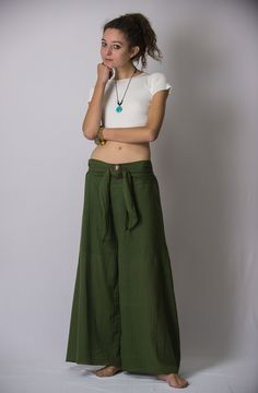 Women's Thai Harem Palazzo Pants in Solid Green – Harem Pants