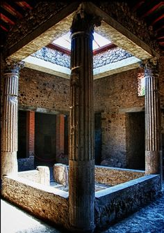 Good idea, Pompeiians! I'd love one of these in my house. Atrium to let sun light into the middle of a house /A