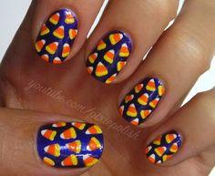 candy corn nail polish design. halloween // fall