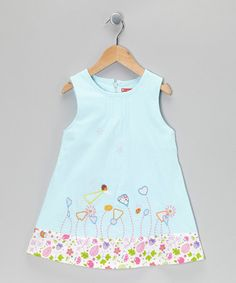 Take a look at this Light Blue Button Flower Dress - Infant, Toddler & Girls by Maggie Peggy on #zulily today!