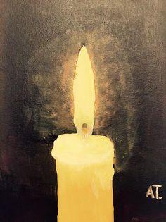 """La tarde del Sábado Santo encontré un hueco para pintar. Una vela, sin más, porque recordar el proverbio """"es mejor encender una vela que maldecir la oscuridad"""""""