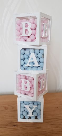 BABY Blocks Acrylic boxes - Baby Shower party ideas, Photo props, Birthdays, Events, displays Set of Gender Reveal Party Decorations, Baby Gender Reveal Party, Baby Shower Decorations, Acrylic Box, Clear Acrylic, Baby Balloon, Baby Blocks, Baby Shower Parties, Shower Party