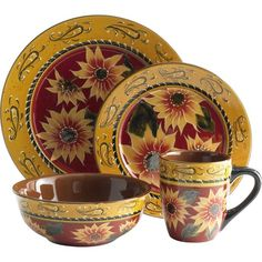 Pier 1 Sunflower Dinnerware This would be perfect in my newly painted kitchen!  sc 1 st  Pinterest & Amazon.com: 16 pc Dinnerware Set Dinner Set Tuscany Grape Wine ...