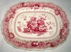 Gorgeous 1840 English staffordshire platter!!! Red transferware with fruit in the center!! 17x13.75 in