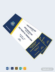 Instantly Download Soccer Event Ticket Template, Sample & Example in Microsoft Word (DOC), Adobe Photoshop (PSD), Apple Pages, Microsoft Publisher, Adobe Illustrator (AI) Format. Available in 5.5x2 inches with Bleed. Quickly Customize. Easily Editable & Printable. Concert Ticket Template, Ticket Template Free, Printable Invitation Templates, Football Party Invitations, Anniversary Party Invitations, 2nd Birthday Invitations, Football Ticket, Ticket Design