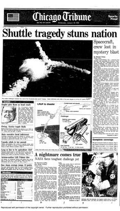 Space shuttle Challenger explosion, 1986  I remember so vividly where I was when I heard the news....I had just dropped off a movie at the video store, got in the car where my mom was waiting, turned on the radio, and there it was...mom and I sat there for a few minutes, stunned.