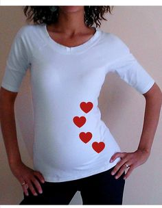 Funny,Cute,  Black and white Maternity Shirt Embellished with hearts Perfect for valentine's day or everyday use, 3/4 sleeves. $24.99, via Etsy.