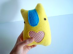 LOVEBELLY lemon yellow plush with bright blue fleece nose and pink rose floral pattern cotton heart by might. $20.00, via Etsy.