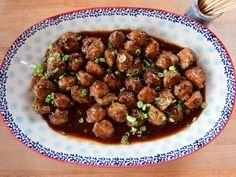 Spicy Mango BBQ Turkey Meatballs Recipe | Ree Drummond | Food Network Bbq Turkey, Ground Turkey Meatballs, Turkey Recipes, Beef Recipes, Cooking Recipes, Spicy Food Recipes, Delicious Recipes