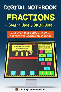 Incorporating digital notebooks for math practice for fractions is an effective way for students to practice using digital tools similar to online testing. The Google Slides templates in this digital interactive notebook provide appropriate grade level practice with the Common Core Standards for Math. Students will practice comparing fractions. Discover and learn more about how to incorporate digital notebooks. #twoboysandadad #chromebook #ipad #digitalnotebook #googledrive #math… Comparing Fractions, Teaching Fractions, Teaching Math, Teaching Resources, Math Strategies, Math Tips, Math Lessons, Math Notebooks, Interactive Notebooks