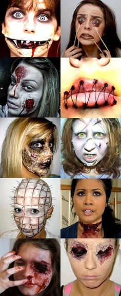 Chicks Do Gore: 10 Nauseating Halloween Makeup Tutorials. Some great ideas on this site! :) gory gruesome special fx halloween makeup