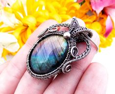 rainbow labradorite pendant-silver wrap-wire wrap-wire weave-wire wrapped jewelry-handmade jewelry-boho jewelry-Melissa Wood Jewelry-artisan by Melissawoodjewelry on Etsy