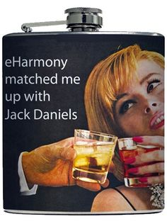 Humor Alcohol Flask eHarmony Matched Me Up With Jack Daniels Ephemera Adult Birthday Gift Stainless Steel 6 oz Liquor Hip Flask