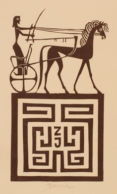 Bookplate (or ex libris) by Ladislav Rusek (1974).