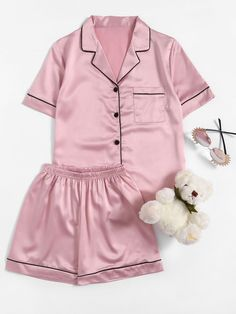Shop Contrast Piping Satin Pajama Set online. SheIn offers Contrast Piping Satin Pajama Set & more to fit your fashionable needs.