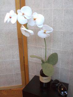 White Orchid Plant, Felt Flower, Orchid Blooms, Wedding Flower, Zen Display, Modern, Simple, Wire Stem, Phalaenopsis