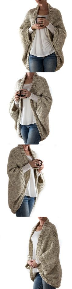 Knitting Pattern by Brome Fields. Over-sized scoop shrug sweater.