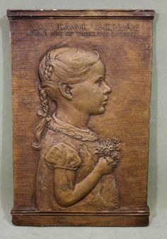 Antique CHRISTINA MEADE Young Girl Portrait Plaster Relief Plaque Sculpture, NR