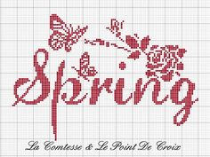 Spring. Normally I don't like the straight statements of seasons, but this one is charming. Free sewing pattern graph for cross stitch.