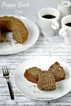 Poppy Seed Cake | WIN-WINFOOD.com This moist and dense poppy seed cake has this amazing non-crumbly texture and that does not dry up over time. Plus the hint of cinnamon and a slight poppy seed crunch take it to a whole new, extra flavorful level.