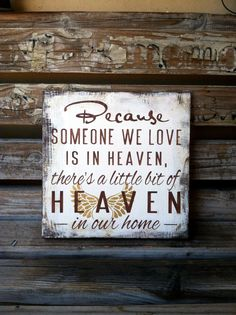 Angel Wings! Because Someone We Love Is In Heaven/ There's A Little Bit Of Heaven In Our Home Shelf Sitter or Plaque Remembrance gift Gold on Etsy, $28.95