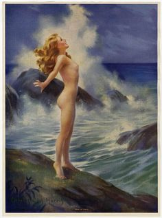 Antique 1930s Mabel Rollins Harris Pin-Up Print Art Deco Nude Spirit of Youth NR