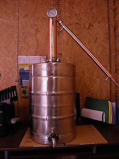 15.5 Gal. Beer Keg Moonshine Still With Built in Lid, Copper Column & Condenser